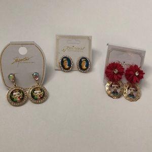 3 Pairs Fantasy earrings/ Frida Kahlo